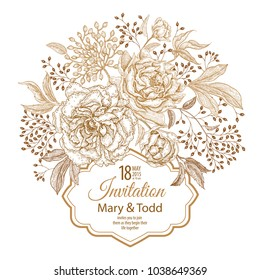 Vintage frame with flowers and berries. Print golden foil on a white background. Roses and peonies in oriental style. Card for wedding and festive greetings and invitations. Vector illustration art.