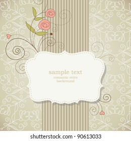 Vintage frame with flowers , vector retro background