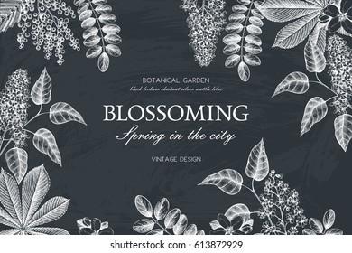 Vintage frame with hand drawn blossoming trees.  Wedding invitation template. Vintage spring illustration on blackboard. Floral background