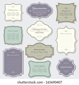 Vintage frame and label set. Calligraphic design elements.