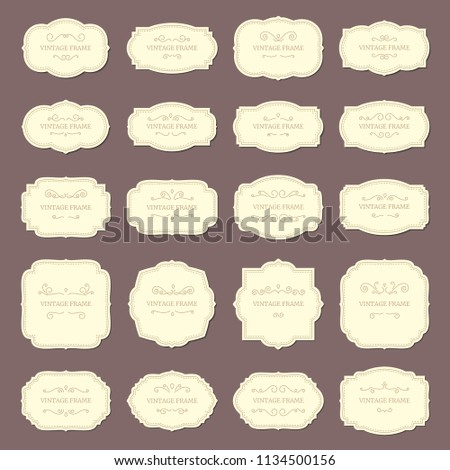 Vintage Frame Labels Rectangle Oval Wedding Stock Vector Royalty