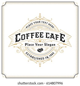 Vintage frame logo design for labels, banner, sticker and other design. Suitable for coffee cafe, restaurant, whiskey, wine, beer and premium product. Vector illustration