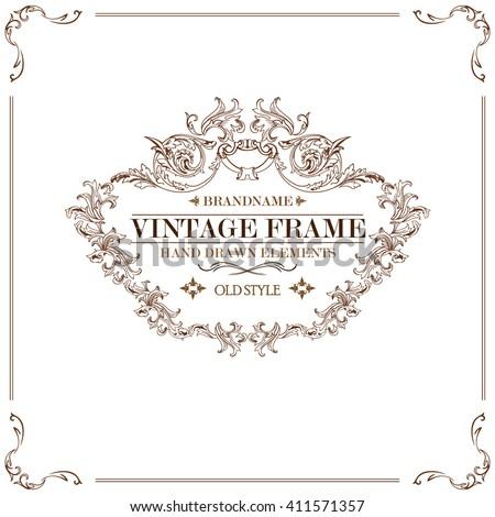 Vintage Frame Logo Invitation Certificate Design Stock Vector ...