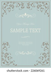 Vintage Frame on Retro Background Design in blue and brown
