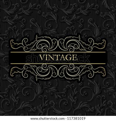 Vintage Frame On Seamless Vintage Wallpaper Stock Vector Royalty