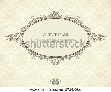 Vintage Frame On Seamless Wallpaper Could Stock Vector Royalty Free