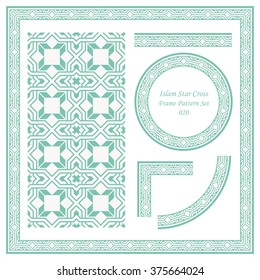 Vintage Frame Pattern Set 020 Islam Star Cross Square Geometry