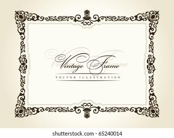 Vintage frame retro decor ornament. Vector calligraphic retro framework. Baroque vintage black border. Royal Elegant Book flourish decorative