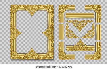 Vintage frame retro decoration corner template design.Gold photo frame with corner line floral for picture, Vector design decoration frame pattern style.frame floral border template illustration