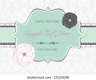 vintage frame, romantic invitation card with flowers