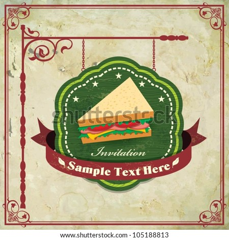 vintage frame sandwich template stock vector royalty free
