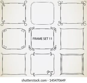 Vintage frame set 11. Abstract hand drawn vintage frame design.