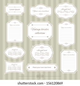 Vintage frame set. Calligraphic design elements.