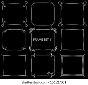 Vintage frame set on black . Abstract isolated hand drawn vintage frame design collection.