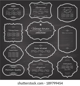 Vintage frame set on chalkboard retro background. Calligraphic design elements.