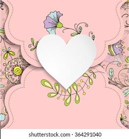 Vintage frame in shape of heart. Element for design.