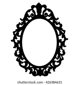 vintage frame silhouette on white background