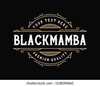 Vintage frame template for logo, label. Suitable for tattoo studio, barbershop, whiskey label, salon, shop name.