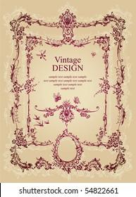 vintage frame, vector
