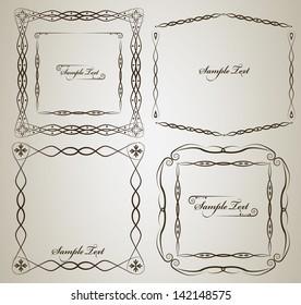 Vintage frame vector set with sample text