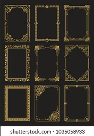Vintage frames collection golden borders isolated on black background. Decorative gold frames set ornamental elements in corners vector illustrations
