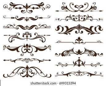 Vintage frames, corners, borders with delicate swirls in Art Nouveau for decoration and design works with floral motifs vintage style with beautiful floral elements. Vector ornaments antique style