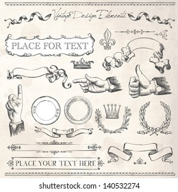 Vintage Frames and design elements with old paper texture