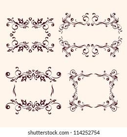 Vintage frames and design elements vector illustration