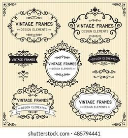 Vintage frames design set on stripe background