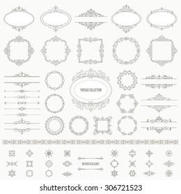 Vintage frames, dividers mega set. Calligraphic design elements.