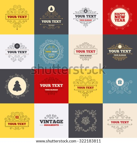 vintage frames labels happy new year icon christmas tree and gift box signs