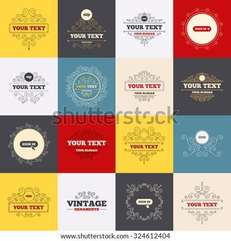 Vintage Frames Labels Sign Icons Login Stock Vector (Royalty Free