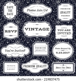 Vintage Frames on Damask Background - Set of frame and label shapes on seamless damask background.  Damask background swatch is included in swatches panel.  Colors are global for easy editing.