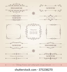 Vintage frames and page decoration set. Calligraphic design elements.