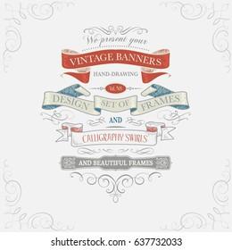 vintage frames and ribbons