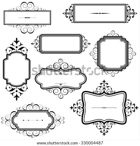 Vintage Frames Scrolls Set Vintage Frames Stock Vector (Royalty Free ...