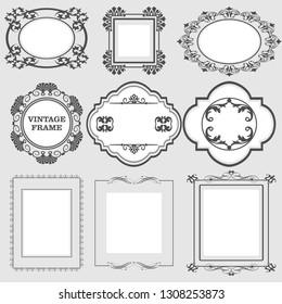 Vintage frames set. Decorative retro border. Classic ornament. Vector graphics