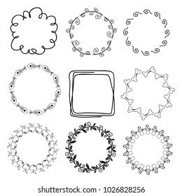 Vintage frames set. Hand drawn vector illustration isolated on white.