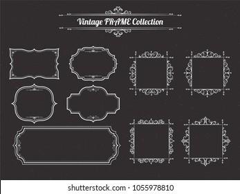 Vintage Frames Set. Vector illustration Template