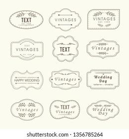 Vintage frames, sign boards set isolated on vintage color. Calligraphic design elements. wedding shape vector