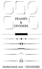 Vintage frames and text dividers. Vector collection.