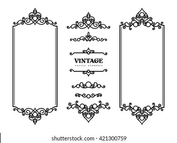 Vintage frames and vignettes, set of swirly decorative design elements in retro style, vector scroll embellishment on white