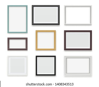 Vintage frames. Wooden painting and photo empty boards for exhibition vector template realistic. Illustration of gallery frame for photo or picture painting