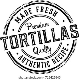 Vintage Fresh Made Tortillas Menu Design Stamp