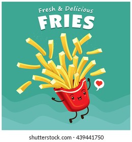 Vintage fries poster design with vector fries character.