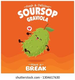 Vintage fruit & food poster design with soursop, graviola character.