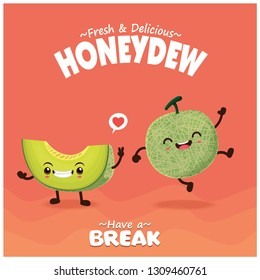 Vintage fruit & food poster design with honeydew character.