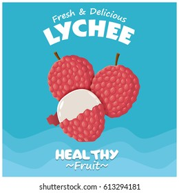 Vintage fruit poster design with Lychee