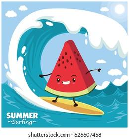 Vintage fruit poster design with vector watermelon surfer.