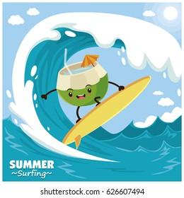 Vintage fruit poster design with vector cocnut surfer.